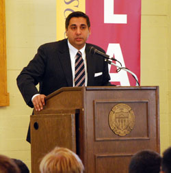 The Hon. Vijay Gandhi '97 welcomes new students